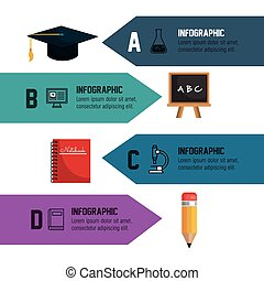 infographic education school banner isolated vector...