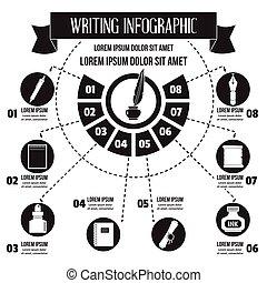 infographic, eenvoudig, stijl, schrijvende
