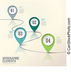 infographic, elemente, abstrakt, modern, markierung, papier,...