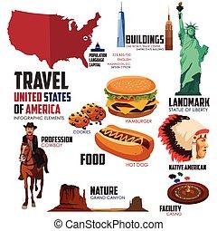 infographic, elementi, viaggiare, stati uniti