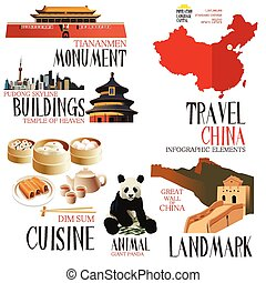 infographic, elementos, china, viajar