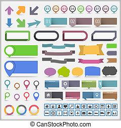 infographic, elementos, colección