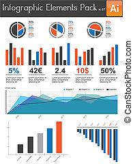 infographic, elementos, pacote, v.01