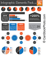 infographic, elementos, pacote, v.02
