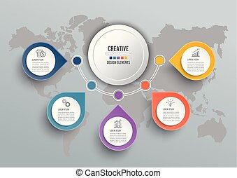 infographic, elements., abstract, papier, infographics., vector, 3d, circulaire