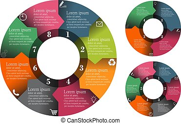 Infographic elements data visualization vector circle color set