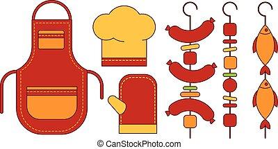 Infographic Elements Food Grill, Bbq, Roast, Steak Flat