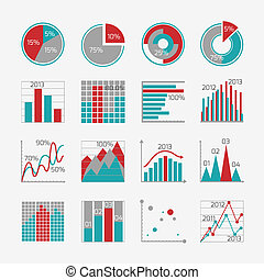 Infographic elements for business report presentation or website isolated vector illustration