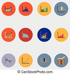 Infographic elements. Graphs, pie charts. Items for business, statistics and reports, Vector Graphics.