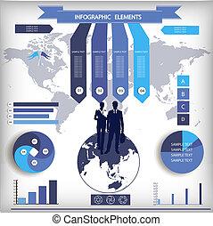infographic, elements., mapa del mundo, y, información, graphics.