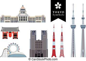 Infographic elements of TOKYO JAPAN, TOKYO Symbol, Tokyo landmarks. Vector Illustration