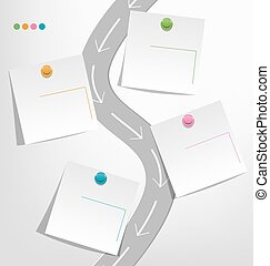 Infographic elements paper note with pins on grayscale...