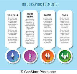 Infographic elements. Relationship and family concepts.