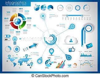Infographic elements - set of paper tags, technology icons,...