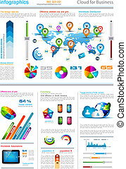 Infographic elements - set of paper tags, technology icons, ...