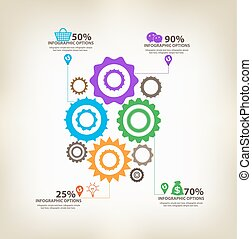 infographic, engranajes, con, eje