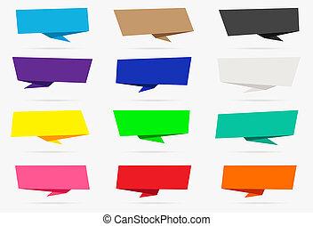 infographic, ensemble, coloré, isolé, collection, papier, fond, origami, blanc, bannière, ruban