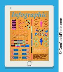 infographic, ensemble, femme, tablette, industrie, eps10., il, illustration, vecteur, pc, elements., mâle