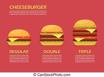 infographic, ensemble, trois, hamburgers