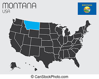 infographic, estado, conjunto, elementos, montana