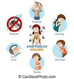 infographic, estilo, caricatura, malaria, síntomas