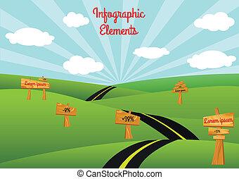 infographic, estrada, elementos