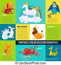infographic, fantastico, concetto, animali, colorito