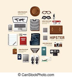 Infographic fashion design flat lay idea. Vector illustration hipster concept. can be used for layout, advertising and web design.
