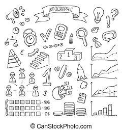 infographic, finanza, affari, scarabocchiare, set., mano, vettore, disegno, disegnato, elements.