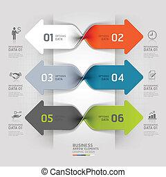 infographic., flèche, business, spirale