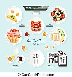 Infographic food business breakfast flat lay idea. salad, meal, toast, news Vector illustration . can be used for layout, advertising and web design.