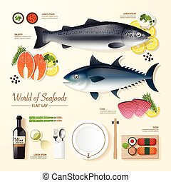 Infographic food business seafood flat lay idea. fish, tuna, salmon, sushi Vector illustration . can be used for layout, advertising and web design.
