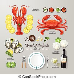 Infographic food business seafood flat lay idea. Vector illustration hipster concept. can be used for layout, advertising and web design.