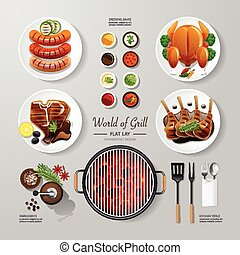 Infographic food grill, bbq, roast, steak flat lay idea. Vector illustration hipster concept. can be used for layout, advertising and web design.