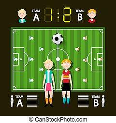 infographic, football, -, vettore, sagoma, calcio