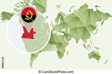 Infographic for Angola, detailed map of Angola with flag.