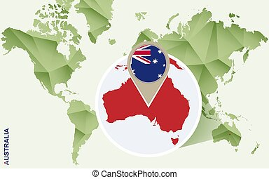 Infographic for Australia, detailed map of Australia with flag.