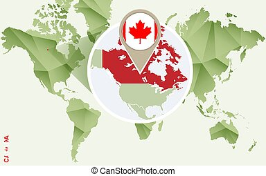 Infographic for Canada, detailed map of Canada with flag.