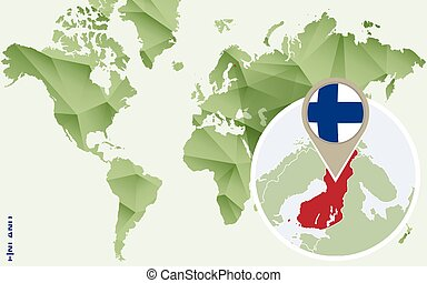 Infographic for Finland, detailed map of Finland with flag.