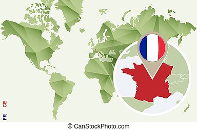 Infographic for France, detailed map of France with flag.