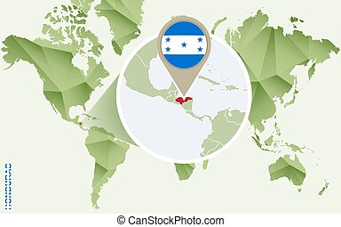 Infographic for Honduras, detailed map of Honduras with flag.