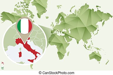 Infographic for Italy, detailed map of Italy with flag.