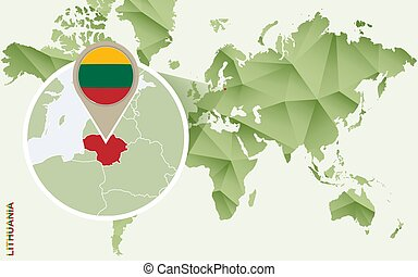 Infographic for Lithuania, detailed map of Lithuania with flag.