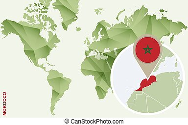 Infographic for Morocco, detailed map of Morocco with flag.