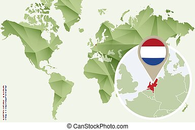 Infographic for Netherlands, detailed map of Netherlands with flag.