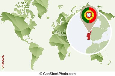 Infographic for Portugal, detailed map of Portugal with flag.