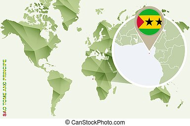 Infographic for Sao Tome and Principe, detailed map of Sao Tome and Principe with flag.