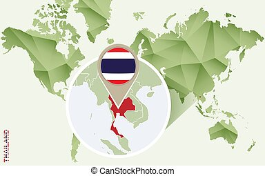 Infographic for Thailand, detailed map of Thailand with flag.