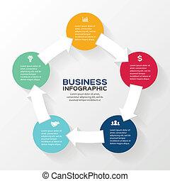 infographic, frecce, diagramma, vettore, 5, cerchio, opzioni