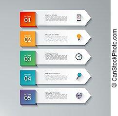 infographic, freccia, sagoma, con, 5, opzioni